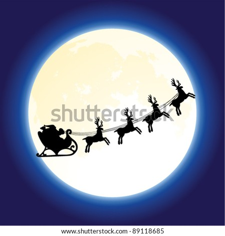 vector christmas holiday background with santa claus and deers flying in front of the moon