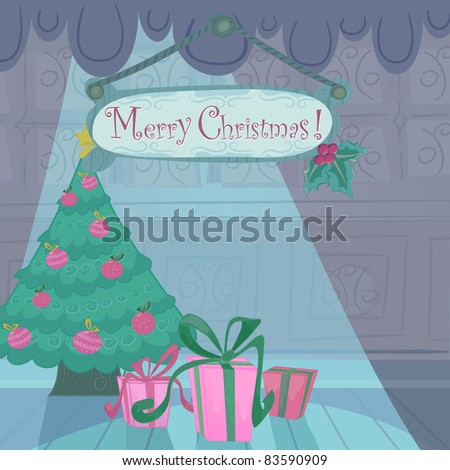 Vector Christmas holiday card with cartoon background, presents, holly  and  Christmas tree and copyspace. Text easy removable