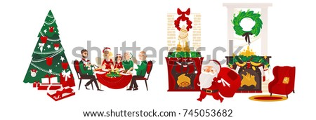 vector christmas holiday scenes set. Santa standing with present bag, fireplace with stocking, room with spruce tree, chair and presents, family sitting at table. Isolated illustration.