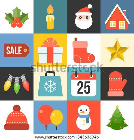 vector christmas icon set 1