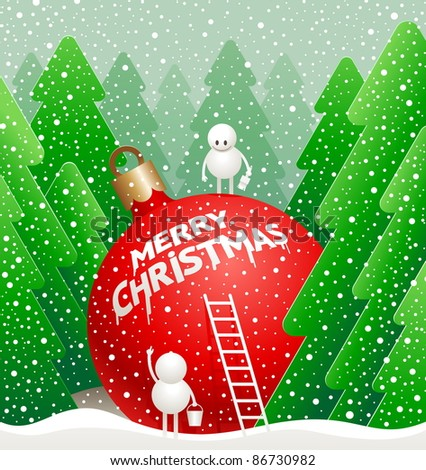 Vector Christmas illustration - little cute snowmans write a  greeting on a giant bauble in the winter forest