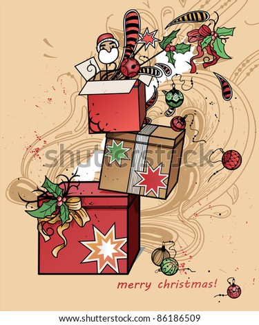 vector christmas illustration of christmas gifts and decoration