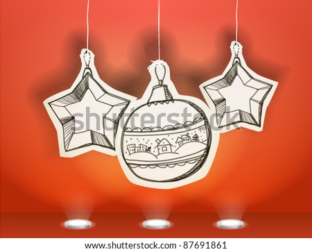 Vector Christmas illustration of christmas toys