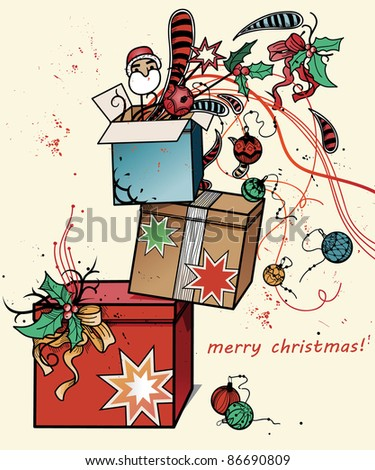 vector christmas illustration of colorful boxes with christmas gifts and decorations