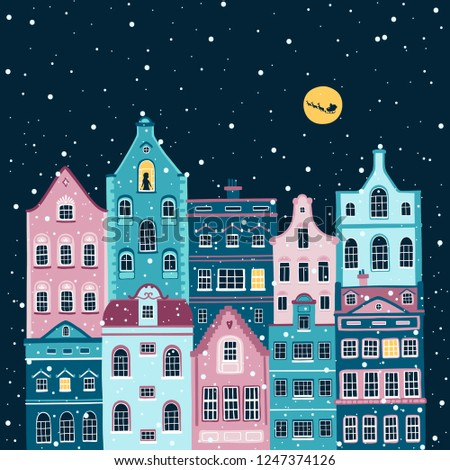 Vector Christmas illustration of night street with european houses. Silhouette of a girl in the window and the silhouette of Santa with deer in the sky