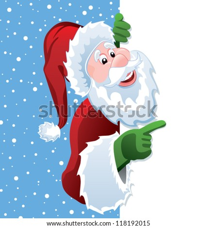 vector christmas illustration of santa claus holding blank paper for your text