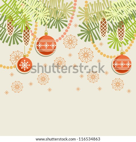 Vector christmas light background. Invitation and greeting card with stylized branches of christmas tree, cones, chaplets and christmas ball. Abstract simple winter holiday illustration with text box