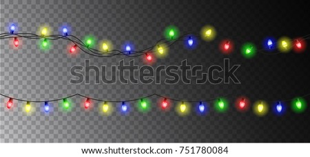 Vector christmas light garland set isolated on transparent background