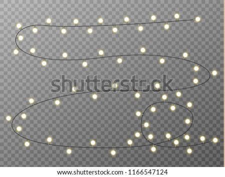 White Translucent Vector Christmas Lights Isolated On A Transparent