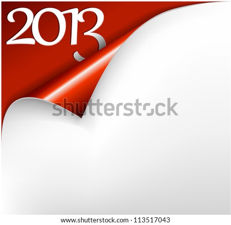 Vector Christmas New Year Card - Sheet of red paper with a curl showing 2013