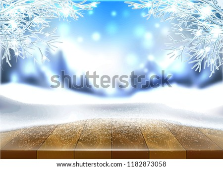 Vector christmas, new year holiday poster, banner background with wooden table covered with ice, snow with winter frozen, icy trees on blurred winter mountains with snow background. Fantasy atmosphere