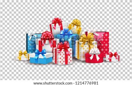 Vector christmas, new year holiday present boxes, gifts pile with bright wrapping, silk ribbon bows on transparent background. Xmas surprise realistic element, winter sale, discounts design symbol