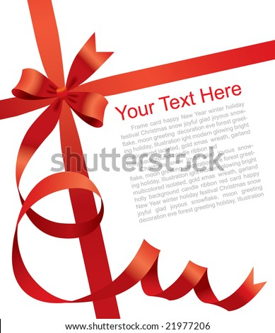 Vector Christmas & New Year's greeting card with a red ribbon - stock vector