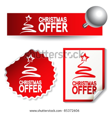 Vector Christmas offer stickers