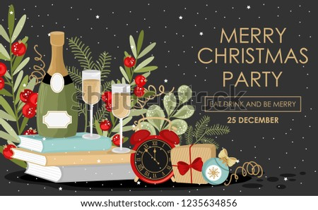 vector christmas party invitation with inscription festive branches flowers gifts and items