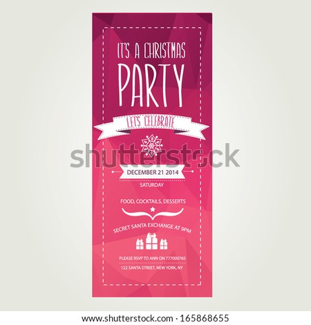 Vector christmas party invitation with toys. Holiday background and design banner. Vector template with xmas graphic. #165868655