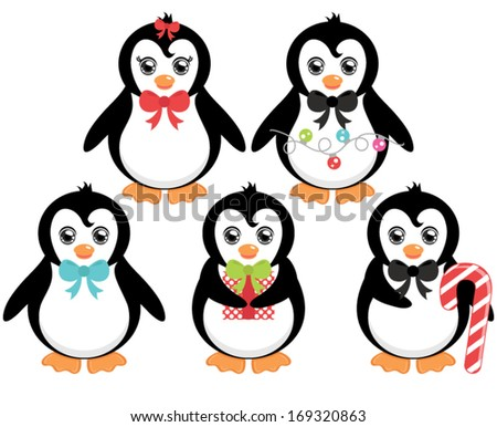 Vector Christmas Penguins