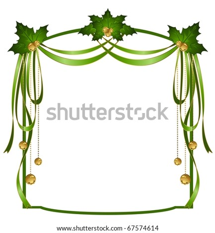 Vector christmas ribbons decorated frame