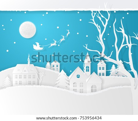 Vector Christmas scene with fir trees, houses, the moon, santa's sleigh, deers, snow and a snowfall. Holiday background with winter landscape. Paper style.