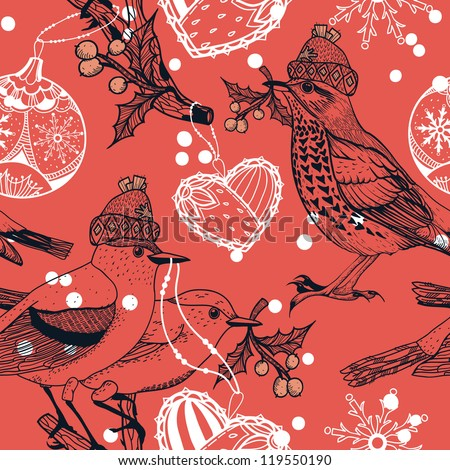 vector Christmas  seamless pattern with vintage birds