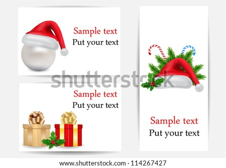 vector Christmas set of greetings cards - stock vector