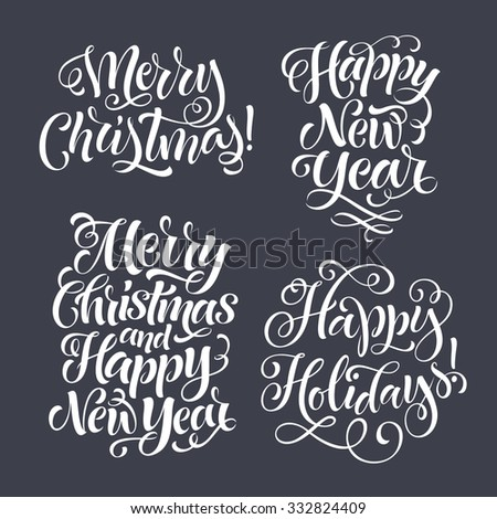 vector christmas set of holidays lettering merry christmas and happy new year text lettering for