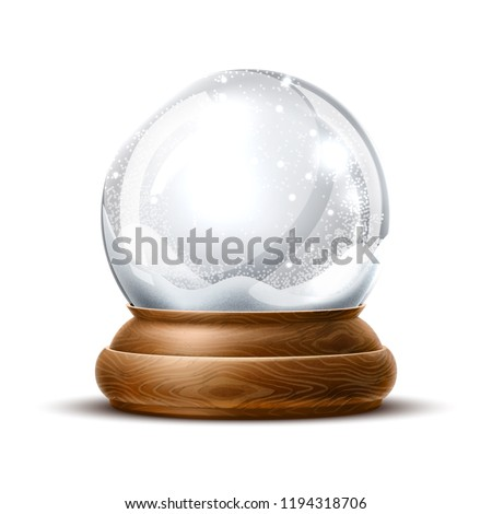 Vector christmas snowglobe on isolated background. Realistic traditional winter holiday decoration crystal with snow, snowflakes inside. Xmas magical toy, empty sphere, 3d illustration