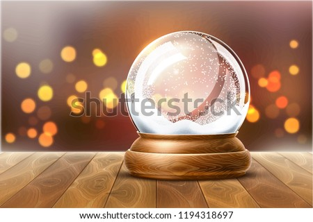 Vector christmas snowglobe on wood table on blurred lights. Realistic traditional winter holiday decoration crystal with snow, snowflakes inside. Xmas magical toy, empty sphere, 3d illustration