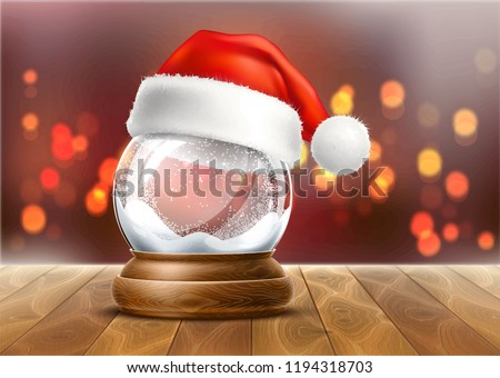 Vector christmas snowglobe with santa hat on wood table on blurred lights. Realistic traditional winter holiday decoration crystal with snow, snowflakes inside. Xmas magical toy, empty sphere