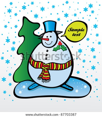 Vector Christmas Snowman with Christmas tree in snow