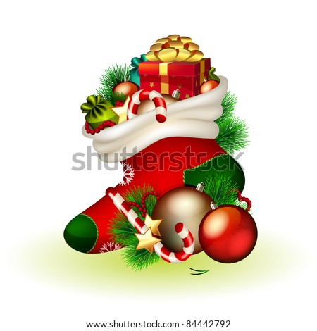 Vector christmas stocking with gifts on white background