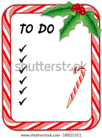 Vector christmas to do list candy cane frame with copy space check