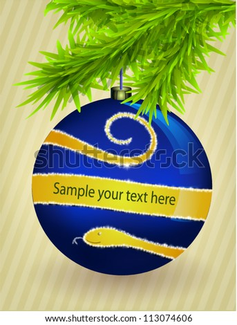 Vector christmas toy with snake on fir branches