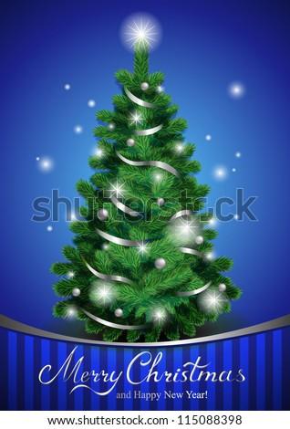 Vector Christmas tree, beautiful Christmas greeting card - stock vector