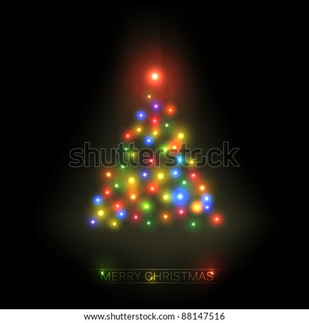 Vector christmas tree from colorful lights on a black background