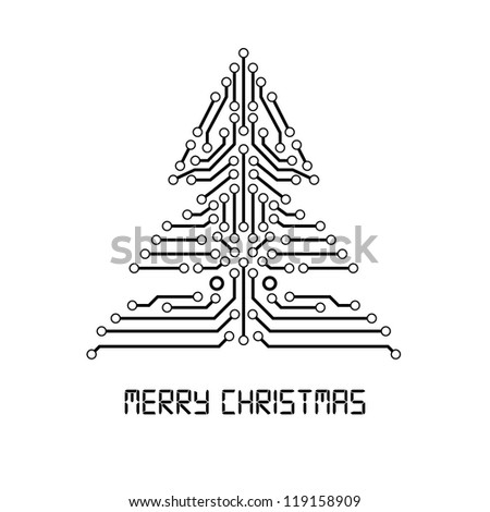 Vector Christmas tree from digital electronic circuit.
