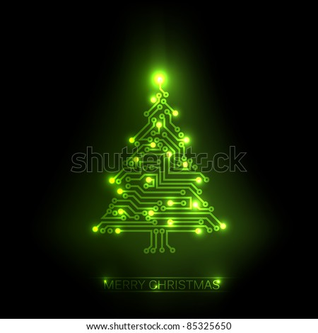 Vector christmas tree from digital electronic green circuit and lights