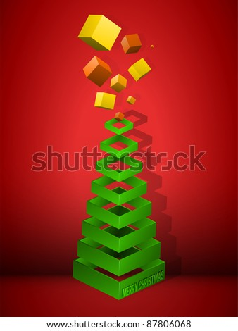 Vector - Christmas Tree Geometric Pyramid with Gifts