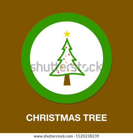 vector Christmas tree illustration - xmas silhouette symbol, winter holiday element isolated