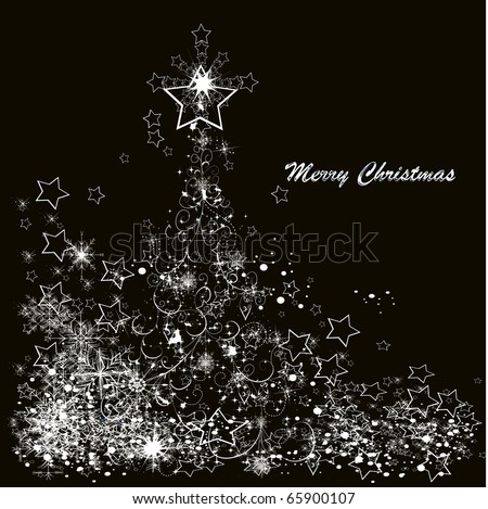 Vector Christmas tree made from snowflakes on a black background - stock vector