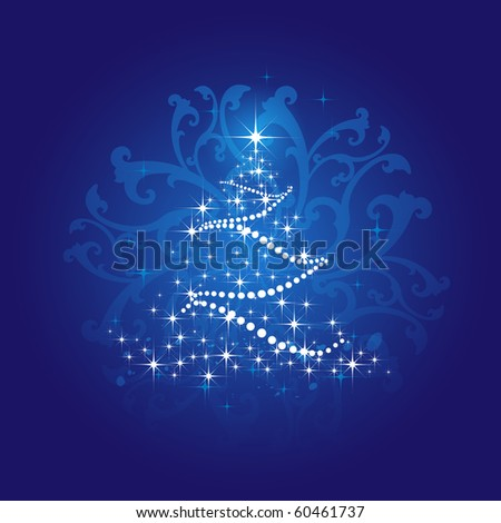 Vector Christmas tree made from snowflakes on a blue background