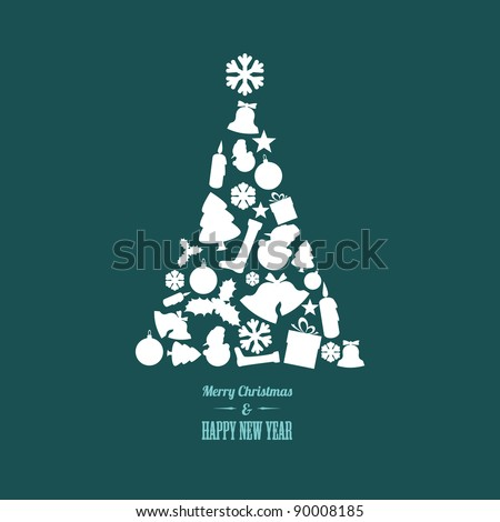 Vector christmas tree made from various shapes (white and teal version)