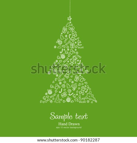 Vector christmas tree on green background. Merry xmas!!!