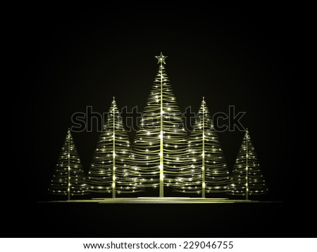 vector christmas trees on a