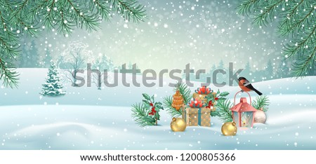 Vector Christmas winter landscape with a bird, Christmas tree, vintage lamp and decorations. Winter snowy background