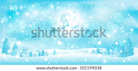 Vector Christmas winter night landscape with snowdrifts, snowstorm, fir trees, silhouette of Santa Claus rushing in sleigh with reindeer on background of full moon for New Year Card, wallpaper, banner
