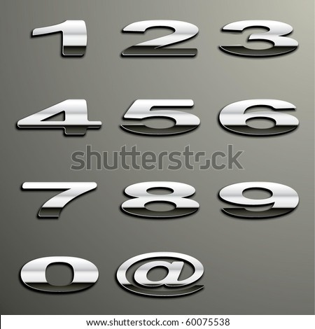 Vector Chrome Numbers - stock vector
