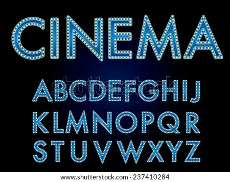 Vector cinema font.