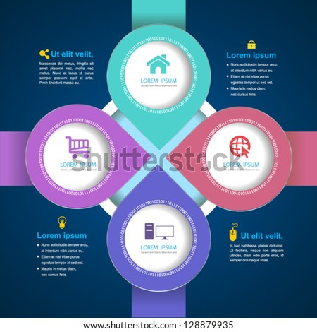 Vector  circle arrow business concepts with  icons / can use for info-graphic / loop business report or plan / modern template / education template / business brochure /  system diagram