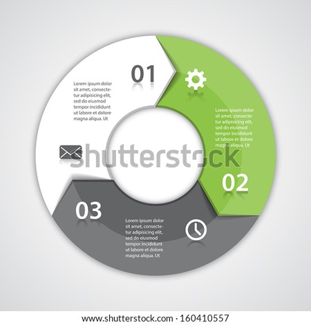 Vector circle arrows for infographic. Template for diagram, graph, presentation and chart. Business concept with three options, parts, steps or processes. Abstract background.